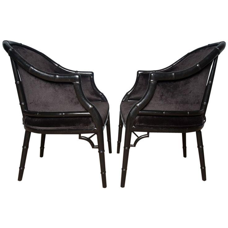 Pair Ebonized Faux Bamboo Barrel Chairs