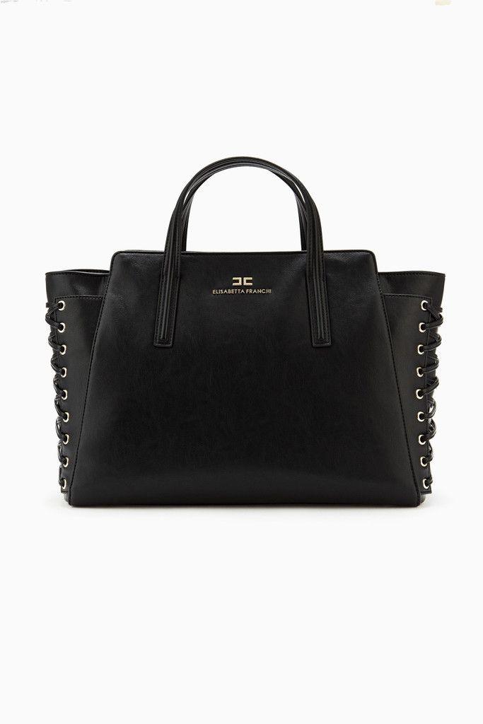 Borsa Grande con Stringhe in pelle sintetica Elisabetta Franchi adatta ad occasioni Glamour ed Eleganti nelle varianti colore Nero e Inchiostro FW2015