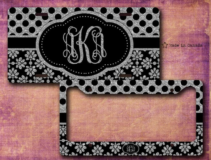 Silver glitter, Black and Silver, Polka Dots, Cute License Plate, Bike Tag, Cute Pattern, License Plate Frame - monogrammed license plate by SaidTheOwl on Etsy
