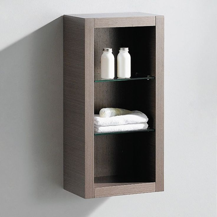 fresca allier gray oak bathroom linen side cabinet w 2 glass shelves