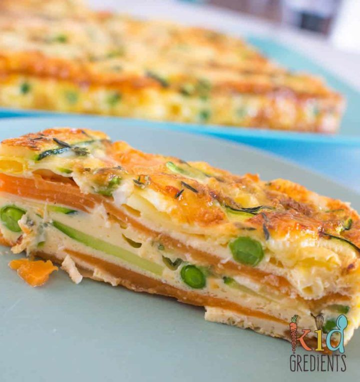 Sweet potato and zucchini healthy strata bake - Kidgredients