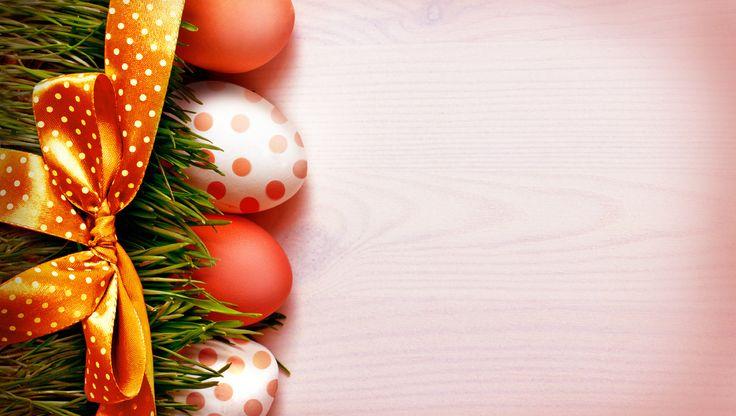 трава, бант, easter, лента, пасха, праздник, яйца ...