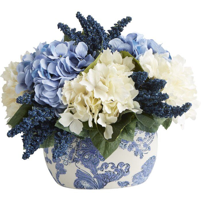 Faux Hydrangea Centerpiece In Pot Blue Hydrangea Centerpieces Faux Hydrangea Hydrangea Arrangements
