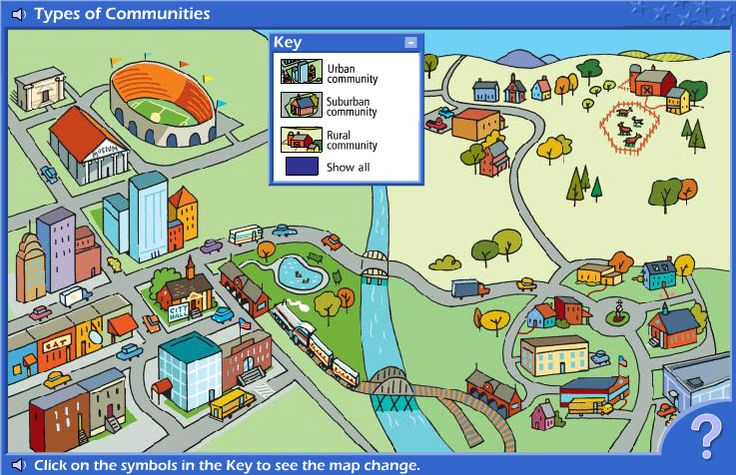 Interactive Map of Types of Communities.  This resource helps young students learn about a variety of communities of place - urban, suburban, and rural locations.