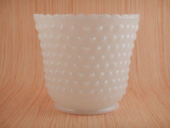 Milk Glass Hobnail Planter/Vase by BrassandMilkglass on Etsy