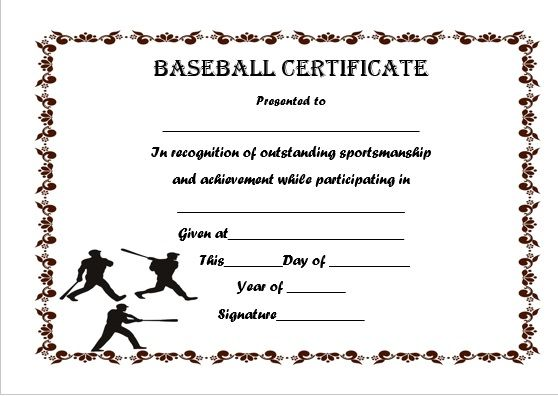 19 best Baseball certificate templates images on Pinterest Free - certificates templates