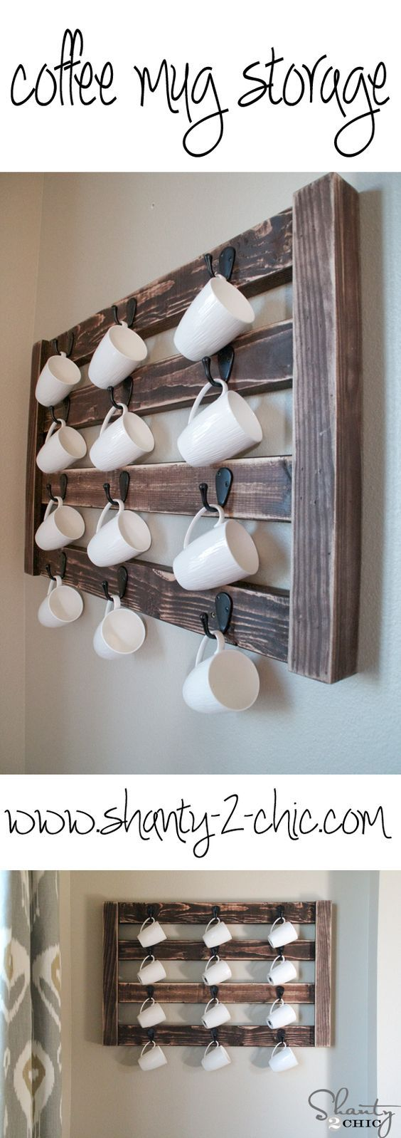 Easy DIY Coffee Mug Display! This is so cute and very easy to modify to fit your space!