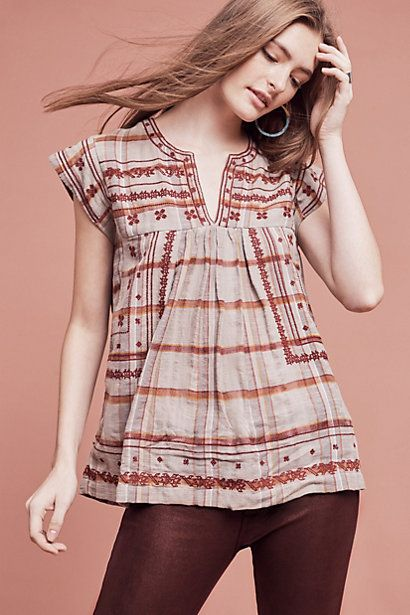 Tatyana Embroidered Top #anthropologie