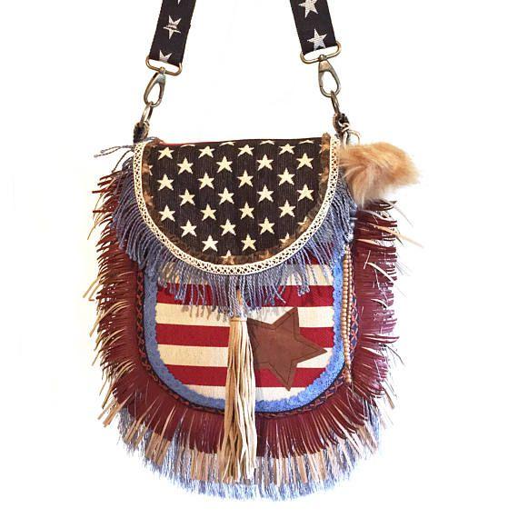 Amerika vlag tas, franje tas USA vlag, handgemaakte tas van stof, exclusieve tas stars n stripes, bohemian tassen OOAK, cadeau dames