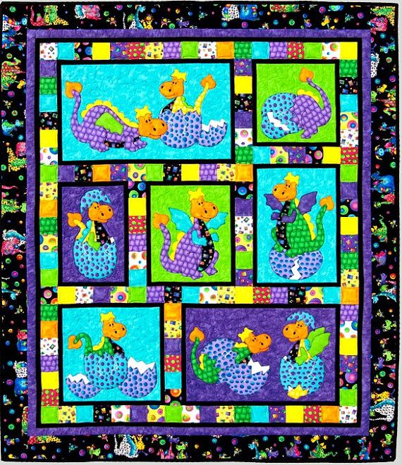HATCHED  QUILT  PATTERN ~ Cute Children's Appliqué  and Pieced Dinosaur Quilt Pattern ~ Create a special quilt for a special someone