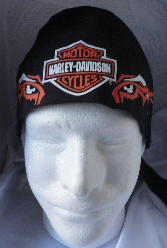 307f7a5a1 Harley Davidson Skull Cap Head Wrap Du Rag Doo Rag Black with HD ...