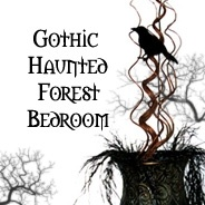 Gothic haunted forest themed bedroom designed to incorporate a love of dark symbolism with natural elements...