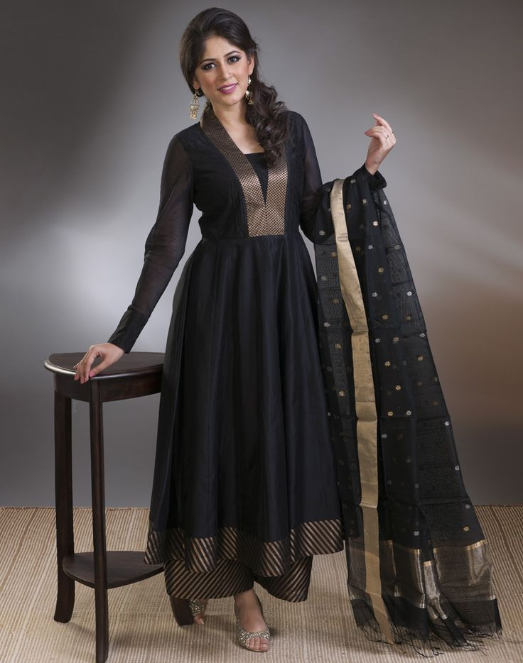 Silk Cotton Anarkali Brocade Border Slim Fit Long Kurta