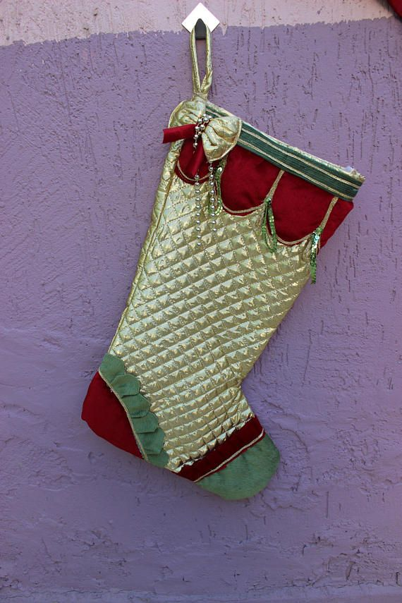 Gold Stocking Set Quilted Stocking BUY 3 GET 1 FREE Bow