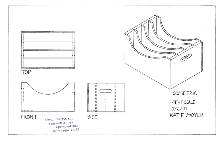 simple orthographic drawing   file table