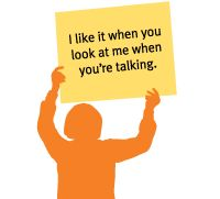 This may be Deaf Cultural rule, but cummon, let's all take the hint and look at each other while we converse please.