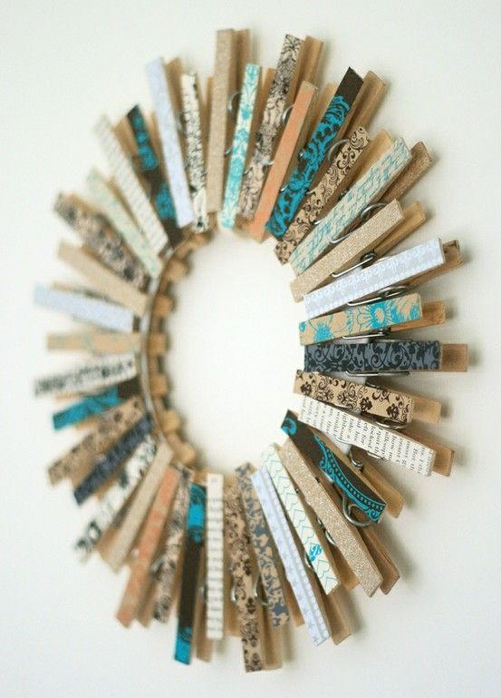 clothespin wreath cute for a laundry room!