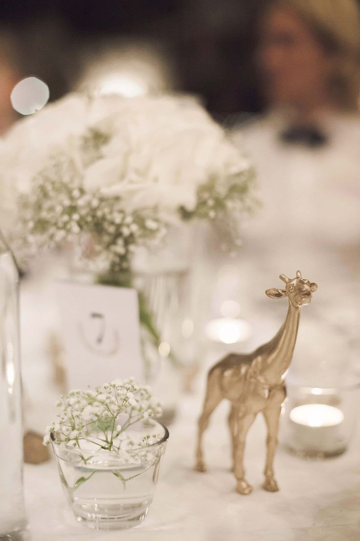 Table Setting, we sprayed plastic animals and used them at the centerpiece with hydrangeas and baby's breath.  Sara och Albin, a fun, whimsical Swedish wedding at the barn of Näs Gård, Sweden
