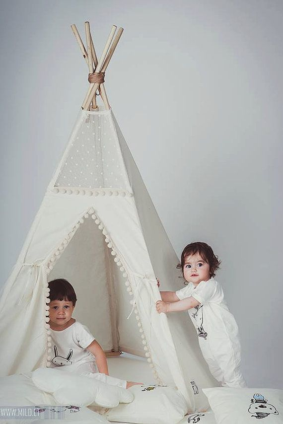 Tipi with poles: 5 pole kids children indoor outdoor playtent, play tent, tipi, teepee, tepee, wigwam, indian tent, tipilotta - with poles