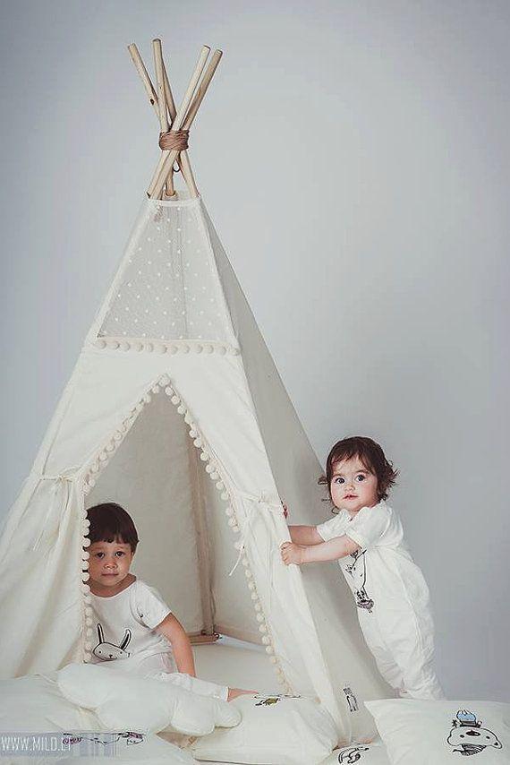 Los niños tipi, tipi con postes: 5 Polo niños niños interior al aire libre playtent tienda del juego, tipi, tipi, tipi, tienda India, tienda India