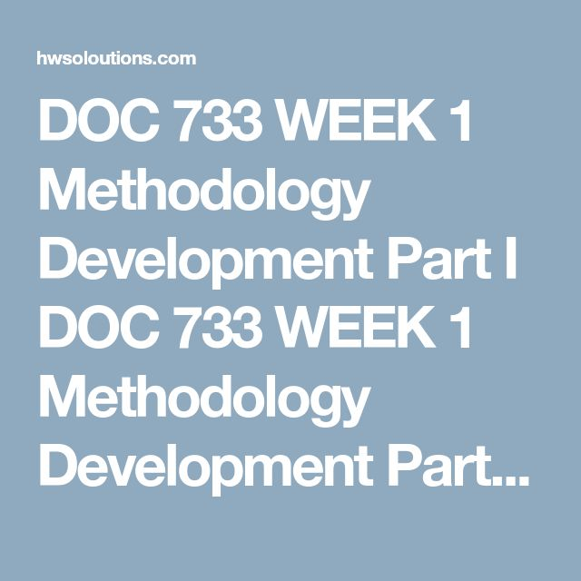 DOC 733 WEEK 1 Methodology Development Part I DOC 733 WEEK 1 Methodology Development Part I DOC 733 WEEK 1 Methodology Development Part I Preparethe following methodology sections of your dissertation proposal for review by your facilitator and chair:  Introduction Method and Design Appropriateness Population and Sample Ethics, Informed Consent, or Confidentiality Ensureeach section aligns with the content criteria outlined in the Dissertation Criteria and Rating Scale (DCRS).  Referenceth...