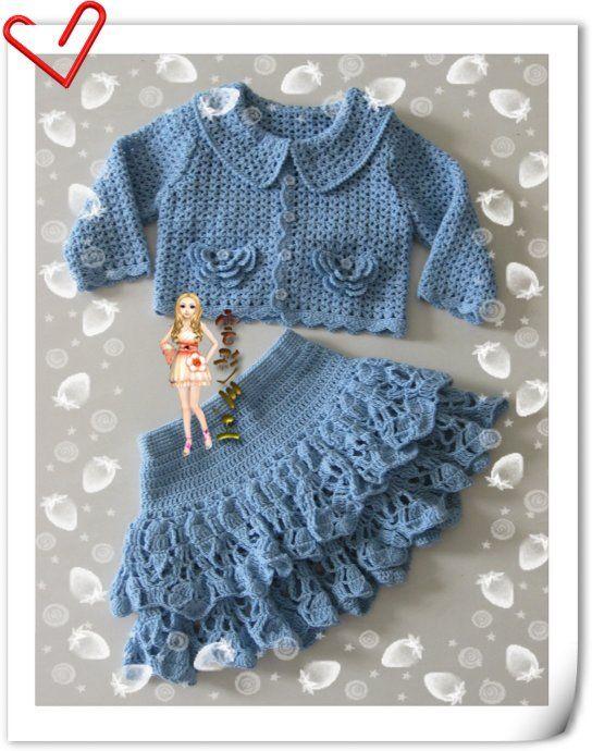 crochelinhasagulhas: Conjunto em crochê para menina