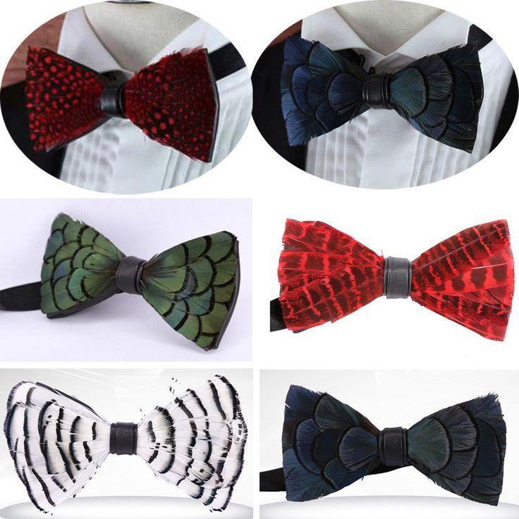 Vintage Feather Mens Bow Tie Tuxedo Bowtie Wedding Cravat Necktie Event Concert  | eBay