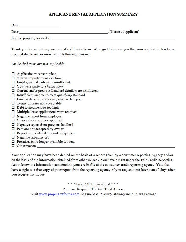 DENIAL OF RENTAL APPLICATION PDF