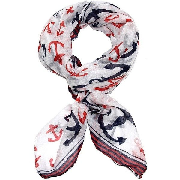 White Anchor Scarf with Classic Red and Navy Blue Trim ($9.99) ❤ liked on Polyvore featuring accessories, scarves, red shawl, anchor scarves, white scarves, white shawl and red scarves