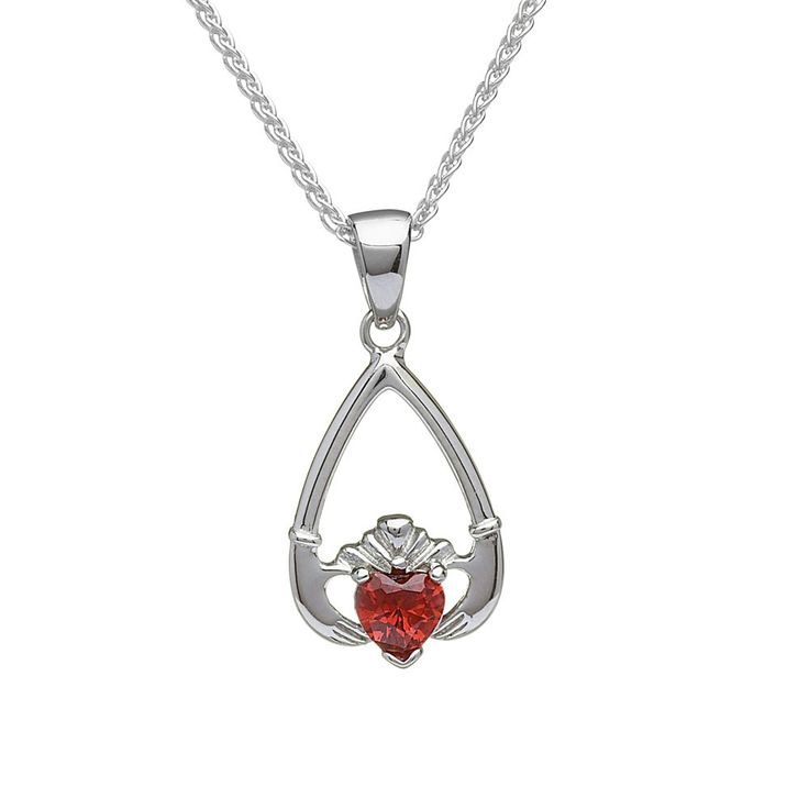 January Birthstone Claddagh Pendant - Claddagh Birthstone Jewelry - Rings from Ireland