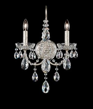 Sonatina Antique Silver Two Light Wall Sconce With Clear Swarovski Strass Crystal Schonbek