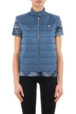 Prada linea rossa woman blue nylon down jacket - LuxuryProductsOnline