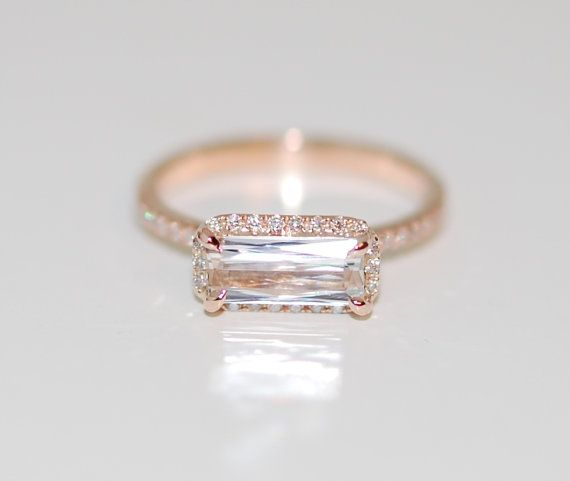 We are in love with this horizontal engagement ring trend