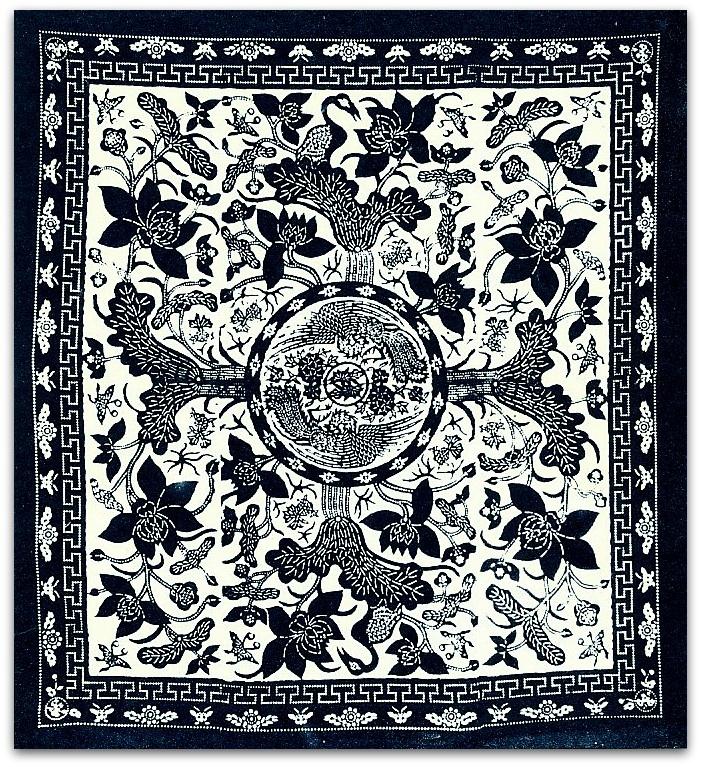 Китай.Верх одеяла.Размер оригинала 114х201см.  Фениксы среди водяных лилий.