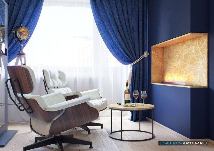 3D Визуализация- Спальня с камином