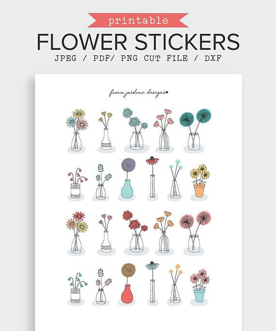 This flower printable journal sticker pack includes 22 hand drawn stickers in 11 unique designs. Stickers range in size with the largest measuring 48mm high x 33mm wide and the smallest 35mm high x 23mm wide (see image for an indication of size). Flower Printable Journal Sticker, Printable Bullet Journal Sticker, Decorative Planner Sticker, Flower Vases, Printable Planner Sticker