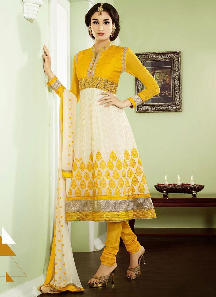 Cream Resham Enhanced Georgette Anarkali Suit