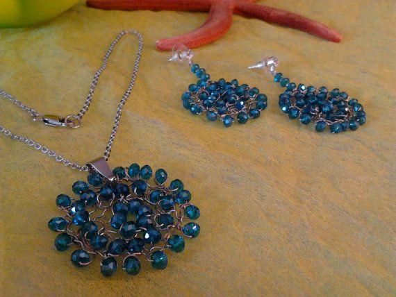 Set: Wire steel necklace - earrings/ Parure Collana, orecchini wire acciaio/Wire with crystals /Orecchini cerchio/Hoop earrings