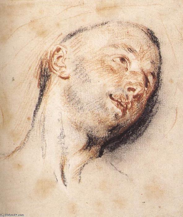 'chef d'un homme', craie de Jean Antoine Watteau (1684-1721, France)