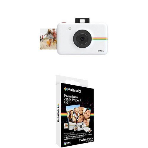 Polaroid Snap Instant Digital Camera White with 2x3 inch Premium ZINK Photo Paper TWIN PACK 20 Sheets