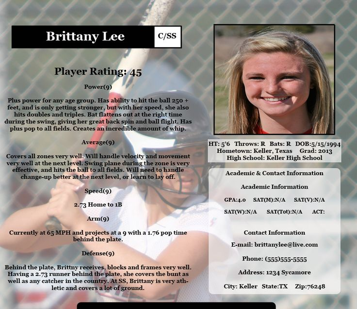 Softball profile sample sample profile page fastpitch for Sports profile template