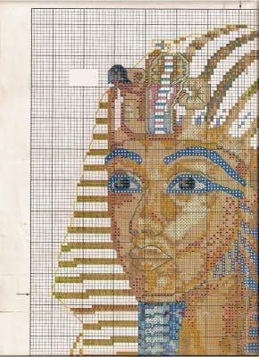 Esquemas busto Tutankamon punto de cruz   En Punto de cruz