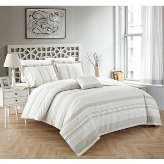 Chic Home Devon 4-Piece 100% Cotton Beige Duvet Cover Set - Free Shipping Today - Overstock.com - 22744846