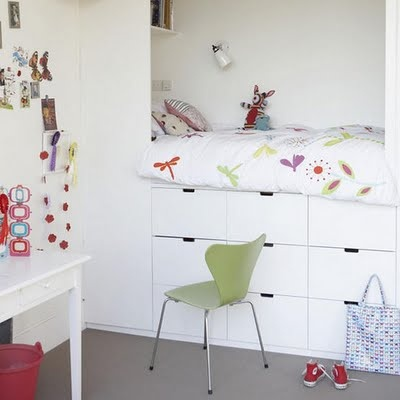 Bespoke children's bed with built in storage. in a nook. Lovely