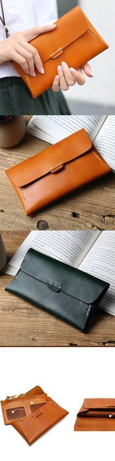 Handmade leather vintage women long multi cards wallet clutch purse wallet