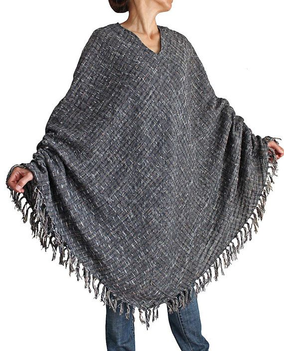 Hand Woven Cotton Long Poncho DFS02603 by SawanAsia on Etsy, ¥8990