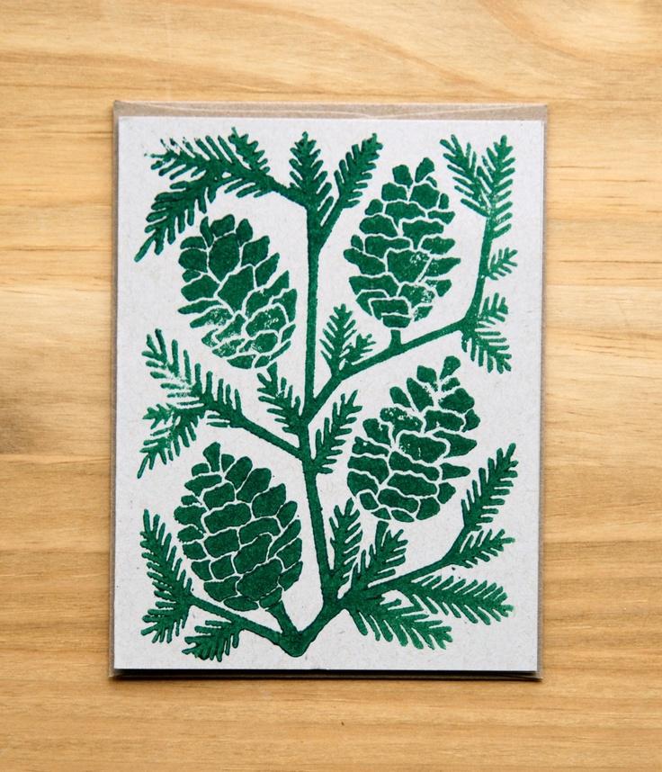 hand block printed Holiday card