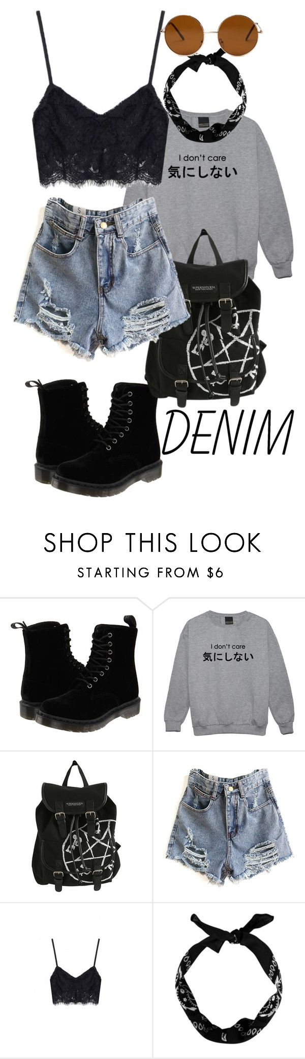 """""""hipster chic"""" by terry-mae ❤ liked on Polyvore featuring Dr. Martens, New Look, Forever 21, denim and distresseddenim"""