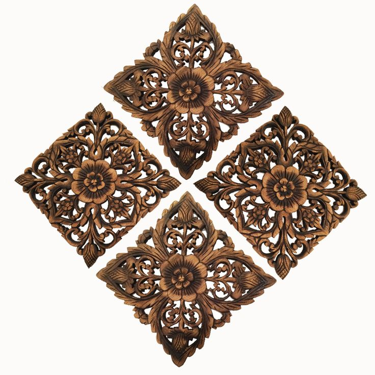 """Rustic Home Decor Wood Plaque. Bali Home Decor. Oriental Carved Lotus Home Decor. Decorative Thai Wall Relief Panel Sculpture. Teak Wood Wall Hanging. Available in Black Wash and Antique Size 12"""", Set of 4"""