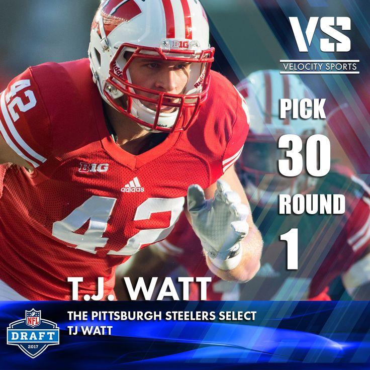 The Pittsburgh Steelers select T.J. Watt .. .. .. #DraftDay #NFL #NFLdraft #NFLdraft2017 #football #Sports #Steelers #VelocitySports #PittsburghSteelers #Pittsburgh #HereWeGo #SteelersDraft #OnWisconsin #Badgers